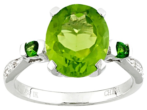 Photo of 2.97ct Oval Manchurian Peridot™ With .12ctw Russian Chrome Diopside And White Zircon Silver Ring - Size 11
