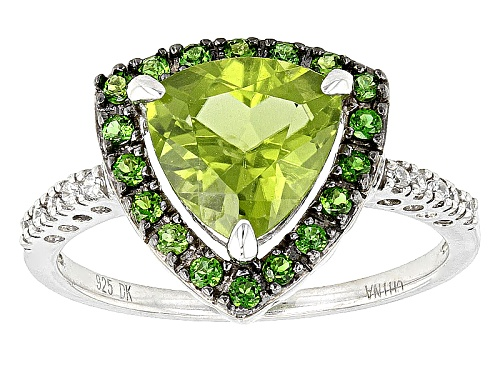 Photo of 1.91ct Manchurian Peridot™, .23ctw Russian Chrome Diopside, And .07ctw White Zircon Silver Ring - Size 11