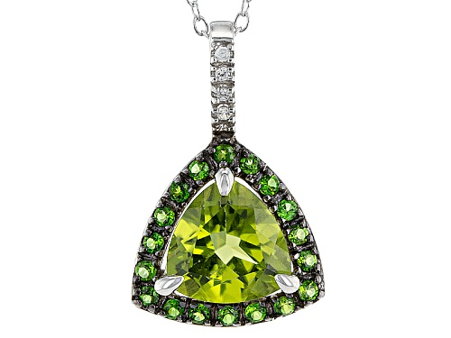 Photo of 1.91ct Manchurian Peridot™ With .26ctw Chrome Diopside And White Zircon Silver Pendant With Chain