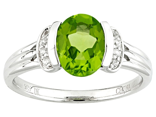 Photo of 1.47ct Oval Manchurian Peridot™ And .06ctw Round White Zircon Sterling Silver Ring - Size 10