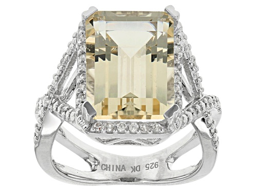Photo of 5.31ct Emerald Cut Yellow Labradorite And .24ctw Round White Zircon Sterling Silver Ring - Size 12