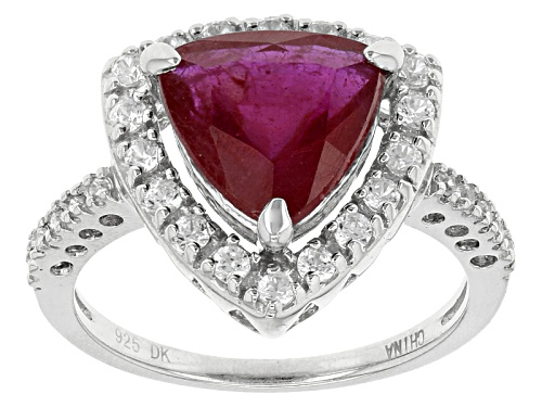 Photo of 2.97ct Trillion Mahaleo® Ruby With .37ctw Round White Zircon Sterling Silver Ring - Size 8