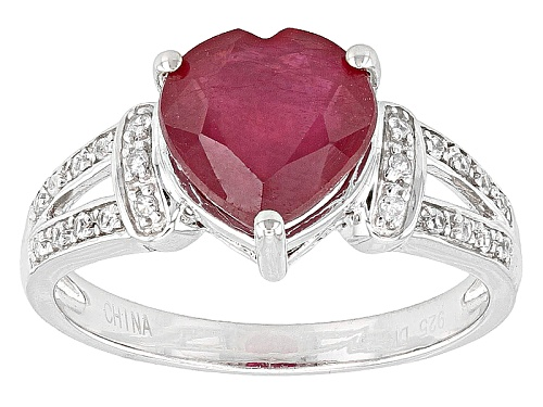 Photo of 2.76ct Heart Shape Mahaleo® Ruby And .16ctw Round White Zircon Sterling Silver Ring - Size 11