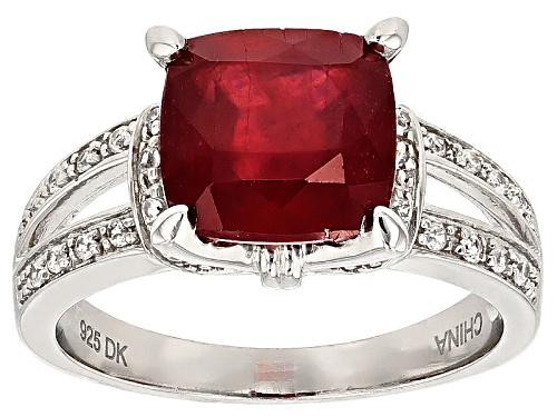 Photo of 3.82ct Square Mahaleo®Ruby With .20ctw Round White Zircon Sterling Silver Ring - Size 7