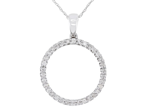 "Photo of 0.34ctw Round White Diamond 10k White Gold Circle Pendant With 18"" Rope Chain"