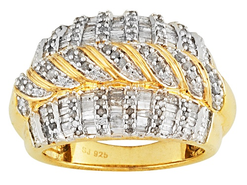 Photo of 1.15ctw Baguette & Round Diamond 14k Yellow Gold Over Sterling Silver Dome Ring - Size 5