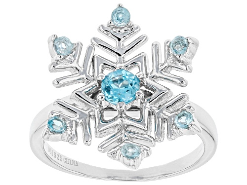 Photo of .62ctw round Glacier Topaz™ rhodium over sterling silver snowflake ring - Size 8