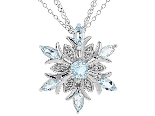 Photo of 2.52ctw marquise and round Glacier Topaz™ rhodium over sterling silver snowflake pendant w/chain