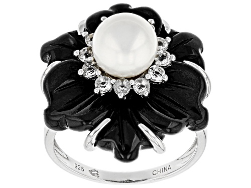 Photo of 20mm hand carved Black Onyx, 7-8mm cultured Freshwater Pearl & 1.80ctw white Topaz Silver Ring - Size 7