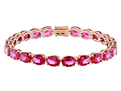 Photo of 24.81CTW OVAL LAB CREATED RUBY 18K ROSE GOLD OVER STERLING SILVER BRACELET - Size 7.25