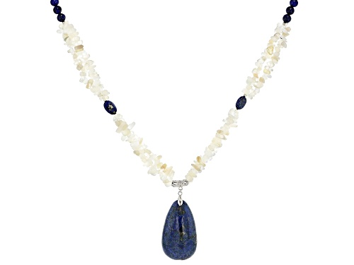 Photo of Lapis Lazuli Round & Oval Bead W/Pear Shape Drop & Free-Form Moonstone Chip Sterling Silver Necklace - Size 20