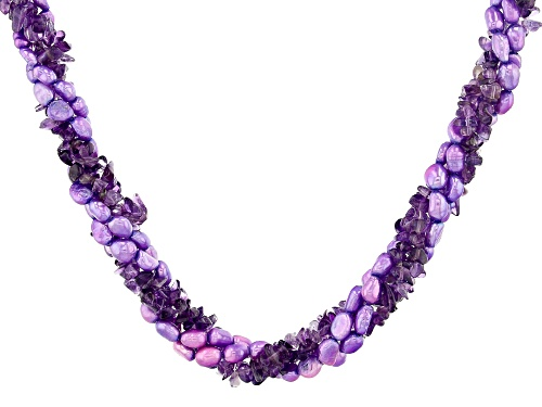 Photo of Free-Form Amethyst Chips & Purple Cultured Freshwater Pearl Silver 4-Strand Torsade Necklace - Size 20