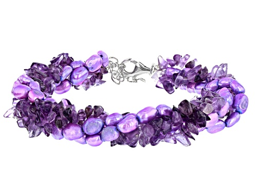 Photo of Free-Form Amethyst Chips & Purple Cultured Freshwater Pearl Silver 4-Strand Torsade Bracelet