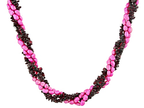 Photo of Pink Cultured Freshwater Pearl With Free-Form Raspberry Color Rhodolite Silver Torsade Necklace - Size 20