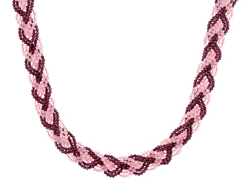 Photo of 2-3mm Rose Quartz and Raspberry Color Rhodolite Braided Bead Strands, Sterling Silver Necklace - Size 19