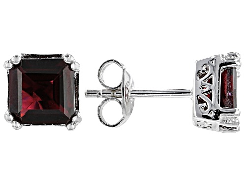 Photo of 2.58ctw Square Princess Cut Raspberry Color Rhodolite Rhodium Over Silver Stud Earrings