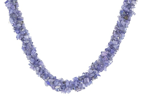 Mixed Shapes Tanzanite Sterling Silver Twisted Multi-Row Chip Necklace - Size 20
