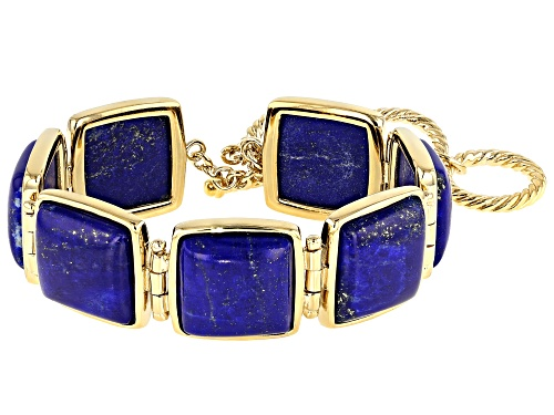 Photo of 15MM CUSHION CABOCHON LAPIS 18K YELLOW GOLD OVER STERLING SILVER BRACELET - Size 7.25