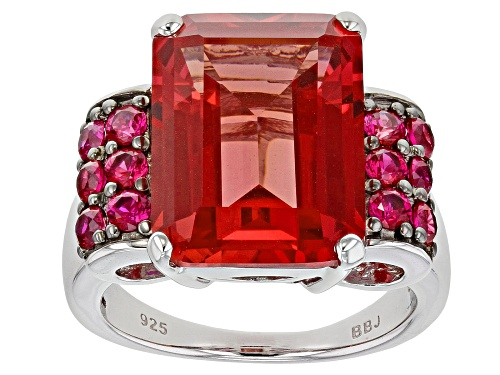 Photo of 12.90ct Lab Created Padparadscha Sapphire with .52ctw Lab Created Ruby Rhodium Over Silver Ring - Size 8