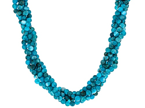 Photo of 4mm Round Neon Apatite Sterling Silver Twisted Necklace - Size 20