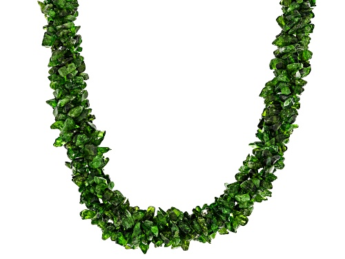 Photo of Free-Form Russian Chrome Diopside Sterling Silver Twisted Multi-Row Chip Necklace - Size 20