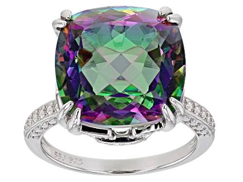 Photo of 8.92ct Square Cushion Multi-Color Quartz Rhodium Over Sterling Silver Solitaire Ring - Size 8