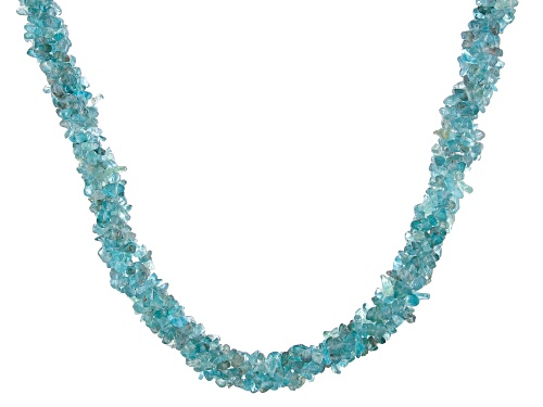 Photo of Free-Form Blue/Green Apatite Chip, Sterling Silver 4-Strand Torsade Necklace - Size 20