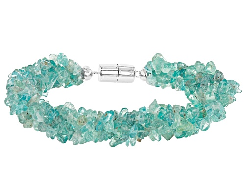 Photo of Free-Form Blue/Green Apatite Chip, Sterling Silver 4-Strand Torsade Bracelet - Size 7.5