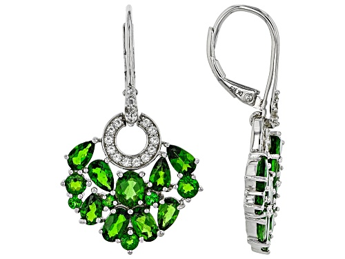 Photo of 4.62ctw Mixed Shape Chrome Diopside & .46ctw Topaz Rhodium Over Silver Chandelier Earrings