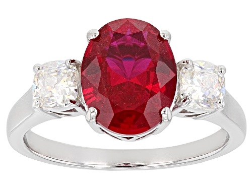 Photo of 2.55CT LAB CREATED RUBY WITH 1.02CTW FABULITE STRONTIUM TITANATE RHODIUM OVER SILVER 3-STONE RING - Size 9