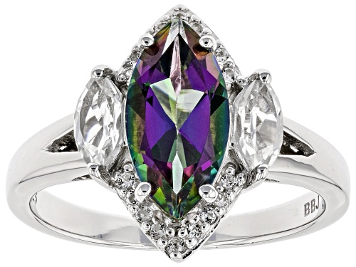Photo of 1.70CT MARQUISE MYSTIC(R) TOPAZ WITH .55CTW WHITE TOPAZ RHODIUM OVER STERLING SILVER RING - Size 8