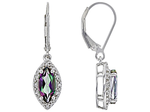 Photo of 2.09CTW MARQUISE MYSTIC(R) TOPAZ WITH .08CTW WHITE TOPAZ RHODIUM OVER SILVER DANGLE EARRINGS