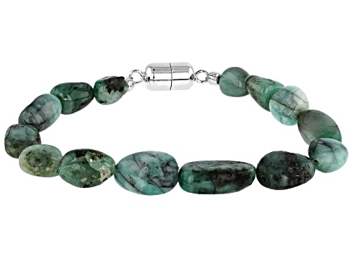 Photo of Free-form Emerald Rhodium Over Sterling Silver Bracelet - Size 8