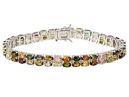 Photo of 14.59ctw Oval Multi-Color Tourmaline Rhodium Over Silver Double Row Tennis Bracelet - Size 7.25