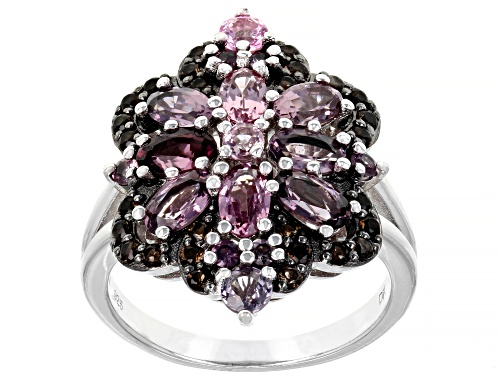 Photo of 2.42ctw Oval & Round Multi-Color Spinel With .36ctw Smoky Quartz Rhodium Over Silver Ring - Size 8