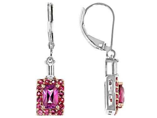 Photo of 1.45ctw Emerald Cut Pink Zircon With .82ctw Pink Spinel & .36ctw Zircon Rhodium Over Silver Earrings