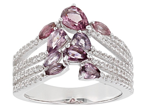 Photo of 1.23ctw Marquise & Pear Shape Multi-Color Spinel With .83ctw Zircon Rhodium Over Silver Ring - Size 8