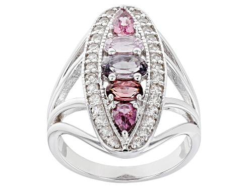 Photo of 1.08ctw Oval & Pear Shape Multi-Color Spinel, .48ctw Zircon Rhodium Over Sterling Silver Ring - Size 7