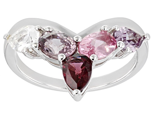 1.79ctw Pear Shape & Oval Multi-Color Spinel Rhodium Over Sterling Silver Chevron Ring - Size 8