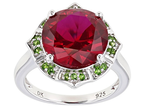 Photo of 6.80ct Round Lab Created Ruby With .19ctw Chrome Diopside Rhodium Over Silver Ring - Size 7
