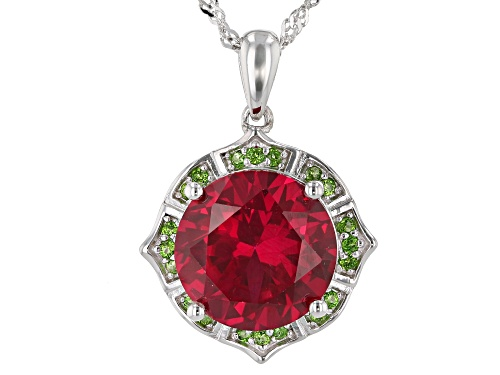 Photo of 6.80ct Round Lab Created Ruby With .19ctw Chrome Diopside Rhodium Over Silver Pendant W/ Chain