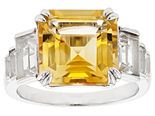 Photo of 3.40ct Square Octagonal Citrine & 1.89ctw Baguette White Topaz Rhodium Over Silver Ring - Size 7