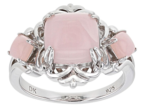 Photo of 4mm & 9mm Square Cushion Pink Opal Rhodium Over Sterling Silver 3-Stone Ring - Size 7