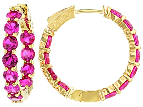 Photo of 7.10CTW LAB CREATED PINK SAPPHIRE 18K YELLOW GOLD OVER SILVER INSIDE/OUTSIDE HOOP EARRINGS