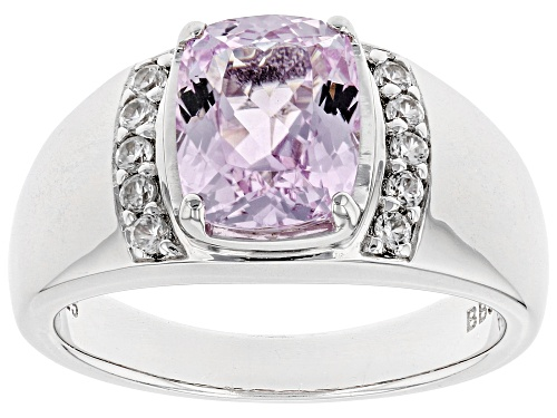 Photo of 2.45ct Rectangular Cushion Kunzite with .18ctw Round White Zircon Rhodium Over Sterling Silver Ring - Size 8