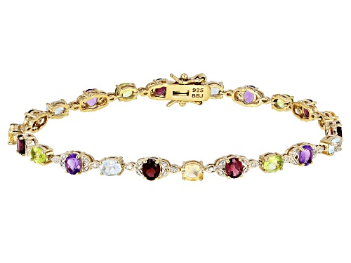 Photo of 8.35CTW OVAL MULTI-GEM WITH .05CTW WHITE DIAMOND ACCENT 18K YELLOW GOLD OVER SILVER BRACELET - Size 8