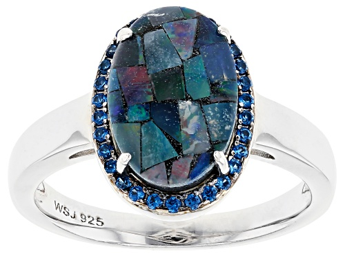 Photo of 12x8mm Australian Mosaic Opal Triplet with .18ctw Lab Spinel Rhodium Over Sterling Silver Ring - Size 8