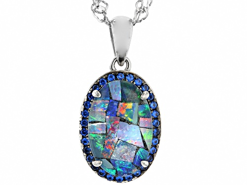 Photo of 12x8mm Oval Mosaic Opal Triplet & .14ctw Lab Created Blue Spinel Rhodium Over Silver Pendant w/Chain
