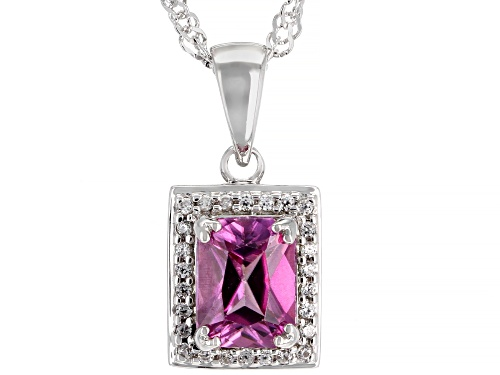 Photo of 1.74ct Rectangular Pink Zircon with .17ctw Round White Zircon Rhodium Over Silver Pendant with Chain