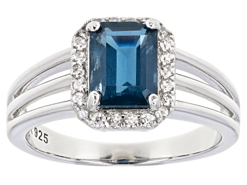 Photo of 1.53ct Emerald Cut Teal Chromium Kyanite With .32ctw Zircon Rhodium Over Sterling Silver Halo Ring - Size 7